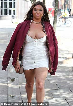 Old times: The influencer was attacked for her appearance while filming TOWIE in the same dress last August after gaining three stone during lockdown