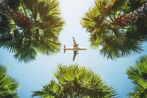 plane fluign through thr sku