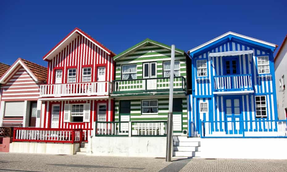 Striped candy-colour hoses in Aveiro, Portugal.