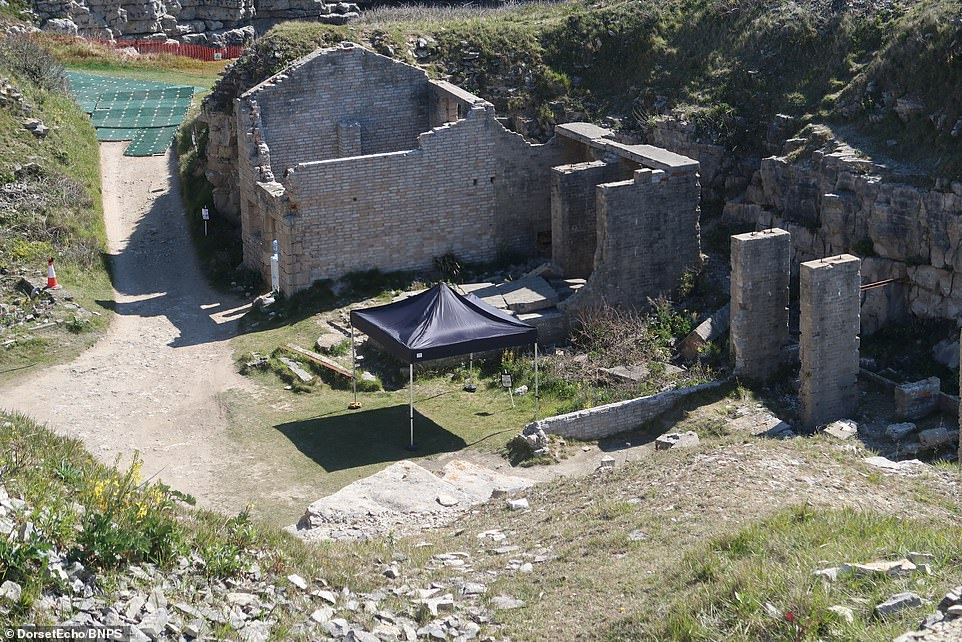 All set: A small tent had been erected close to some dilapidated buildings that will no doubt feature in the new series