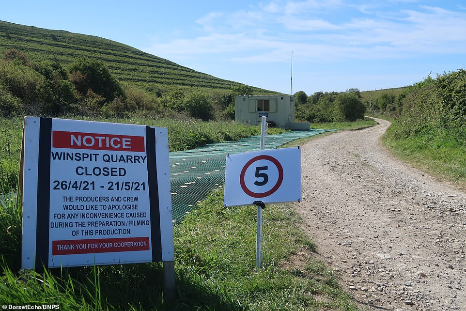 Stay away:Notices strategically placed on hilly footpaths close to the quarry indicated it would be closed to visitors from April 26th to May 25th - giving the crew a month long window in which to film