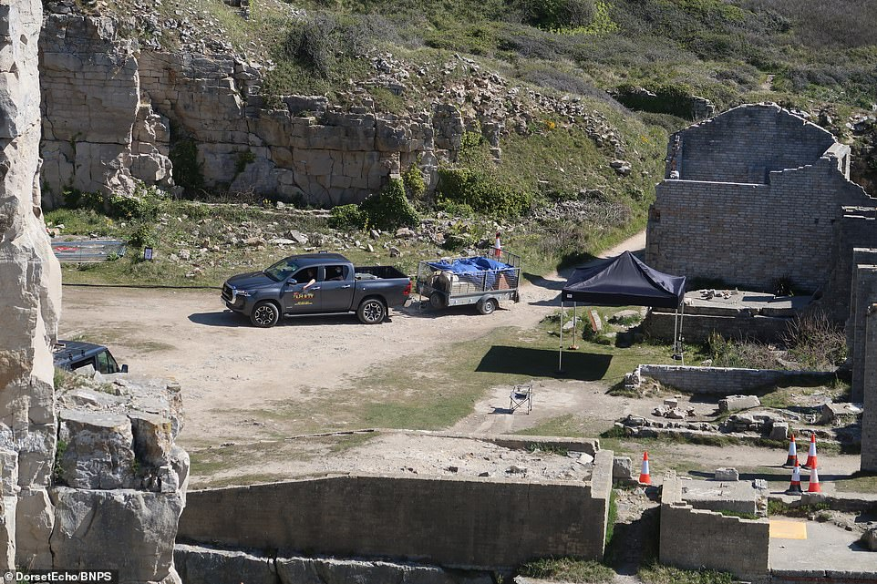 Incoming: A small van could be seen pulling into the quarry with a tarpaulin covered trailer