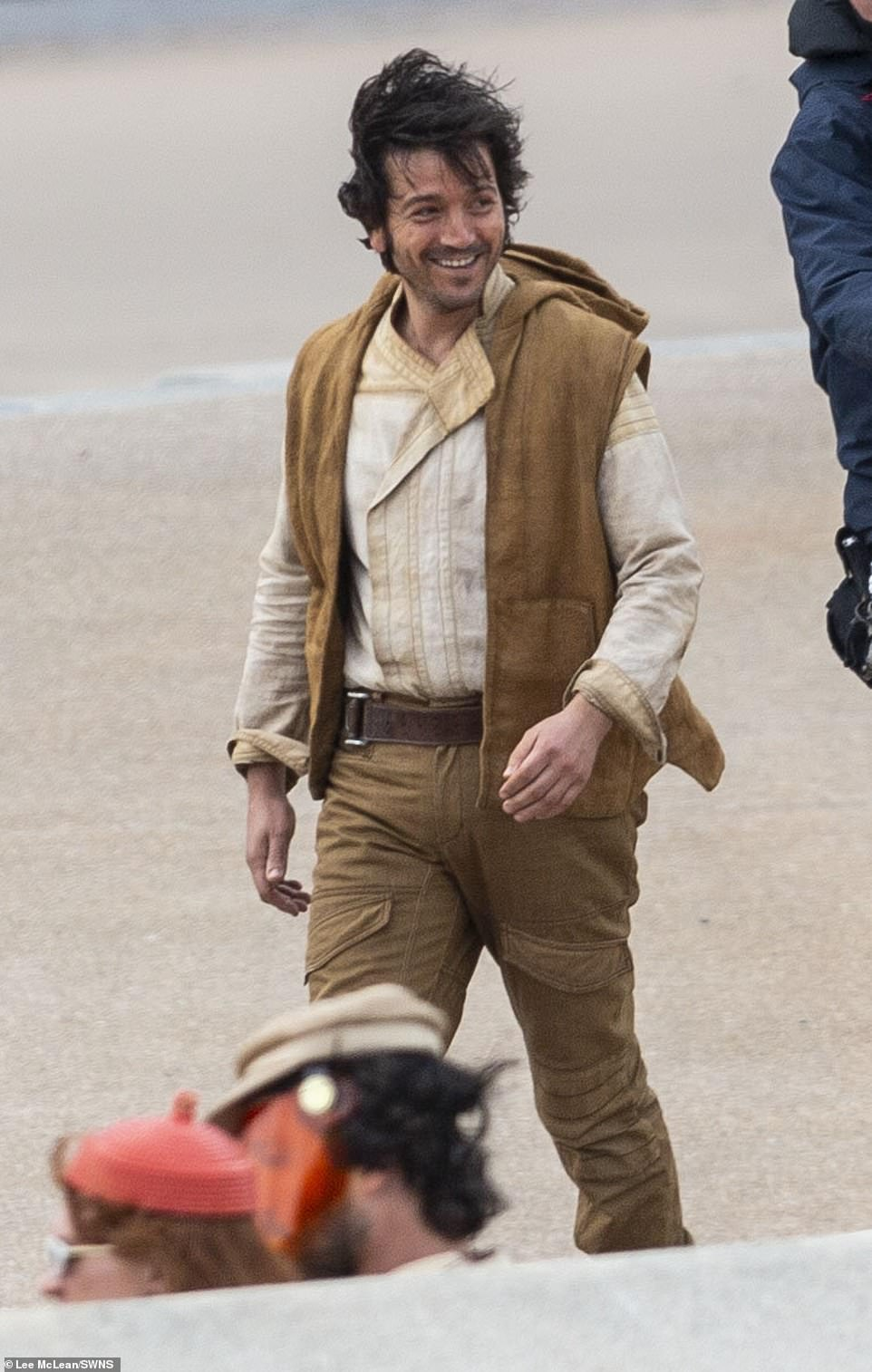 Main man:Star Wars: Andor will see Diego Luna reprise his role as Captain Andor in a plot that will explore the early days of the Rebellion against the Empire and events leading up to those seen in the 2016 film (pictured on set in Cleveleys, Lancashire)