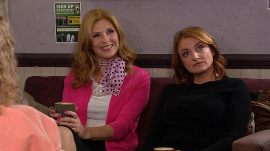 Samantha Giles as Bernice Blackstock with Nicola Wheeler as Nicola King in Emmerdale