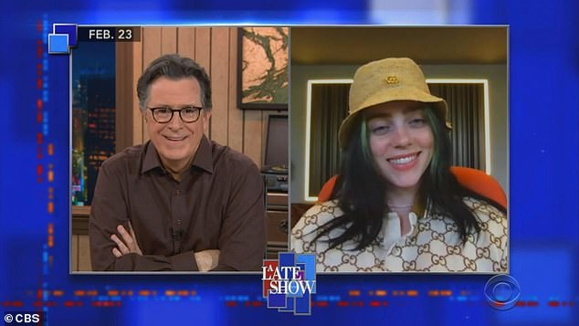Recent appearance:A video clip was shown of Stephen remotely interviewing Billie who wore a yellow hat over her black-and-green wig while being blonde underneath two months ago