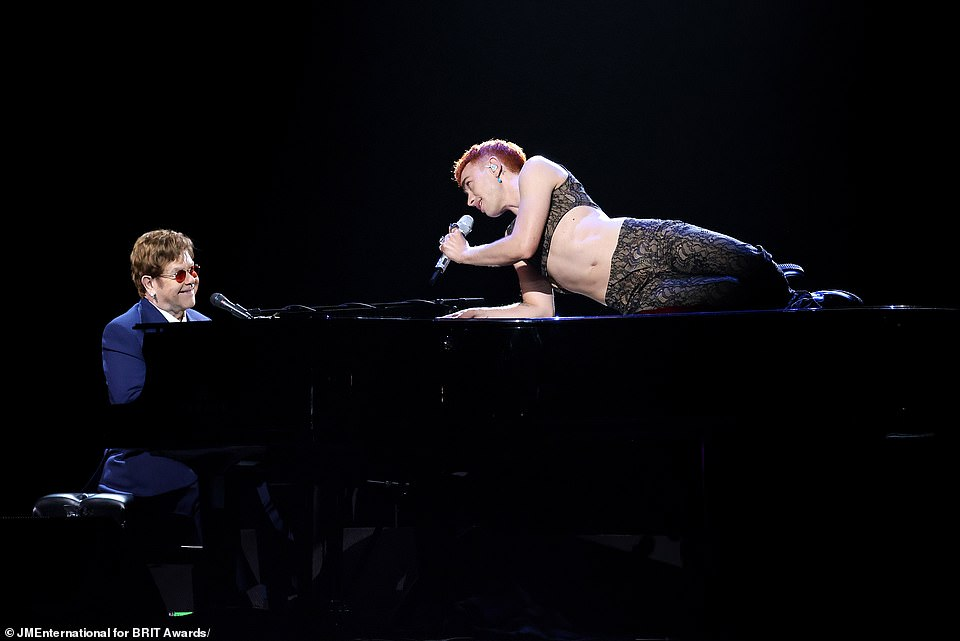 Performance: Also taking to the stage on the night in a pre-recorded performance were Elton John and Years & Years' Olly Alexander, who teamed up to perform the Pet Shop Boys classic It's A Sin