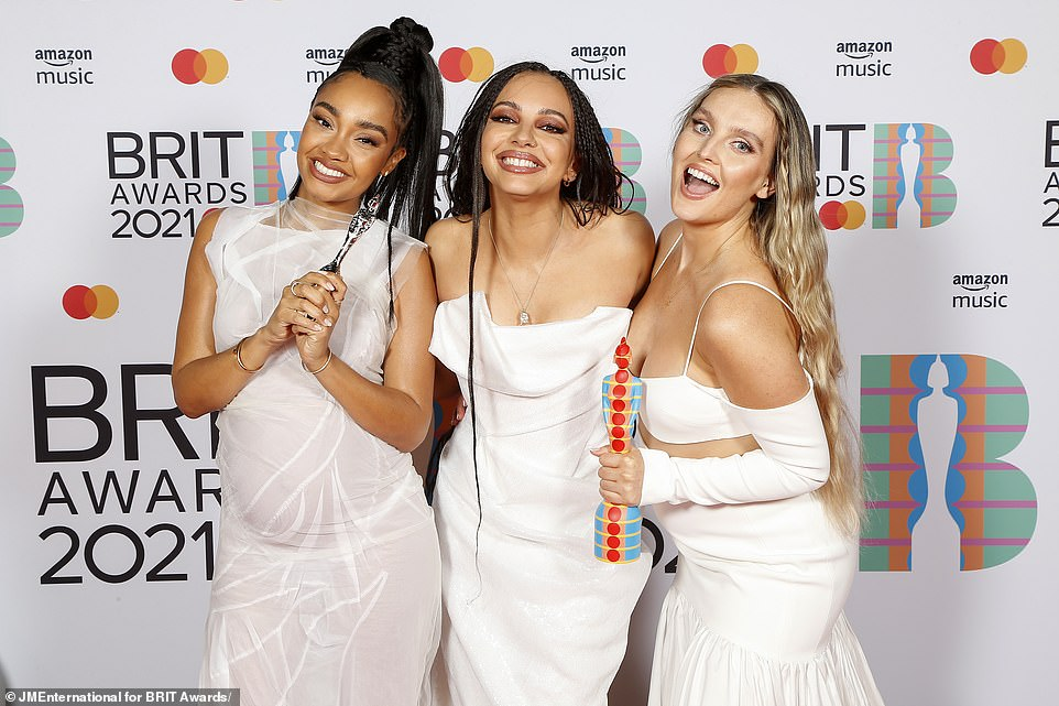 Elated: Leigh-Anne Pinnock (far left) said: 'We have been together for 10 years it's been the best years of our life, we've had so much fun we've made so many memories, we want to thank your incredible fans, Jesy'