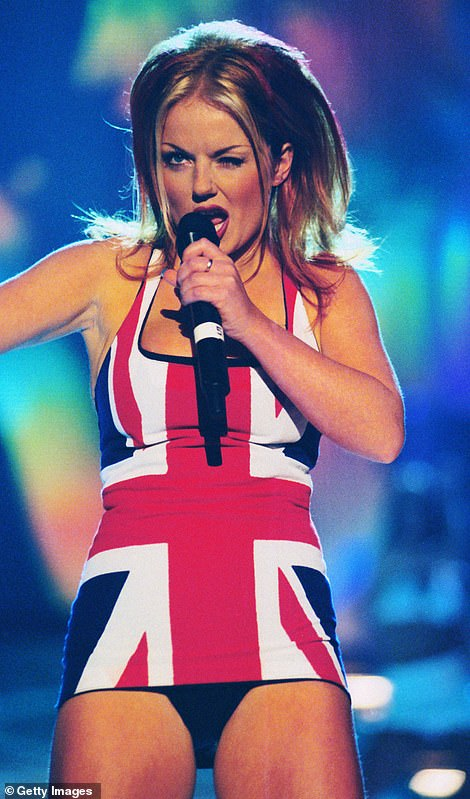 A trip down memory lane: Geri Horner wore the iconic minidress as she performed at the same awards show some 24 years ago, back in 1997