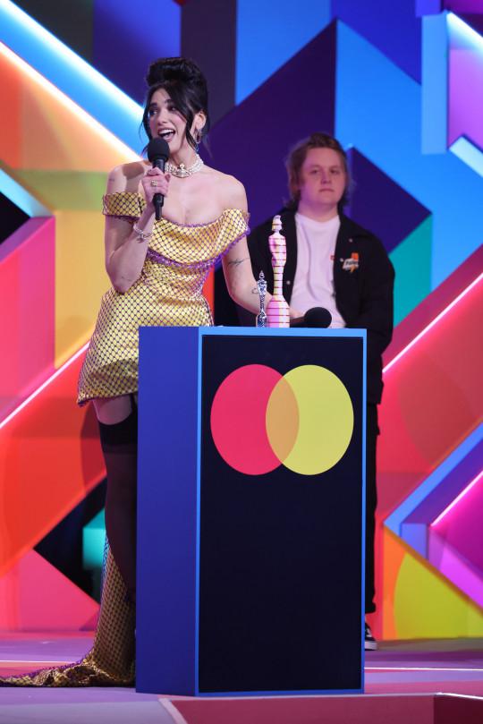 Dua Lipa and Lewis Capaldi at the 2021 Brit Awards