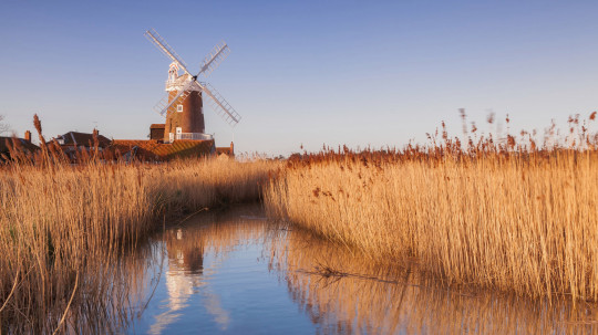 Traditional windmill on the Norfolk broads in the UK