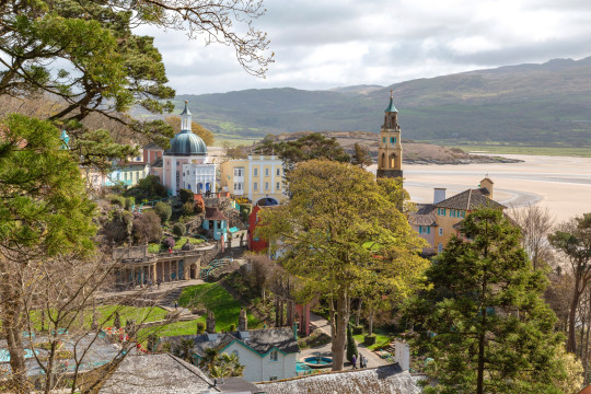 Portmeirion is a colourful, popular and picturesque tourist village. It was designed and built by architect Sir Clough Williams-Ellis between 1925 and 1975 in the style of an Italian village, located on the estuary of the River Dwyryd.