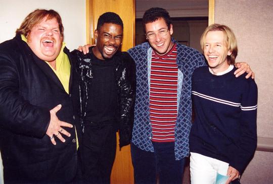 David Spade, Chris Rock, Adam Sandler and Chris Farley.