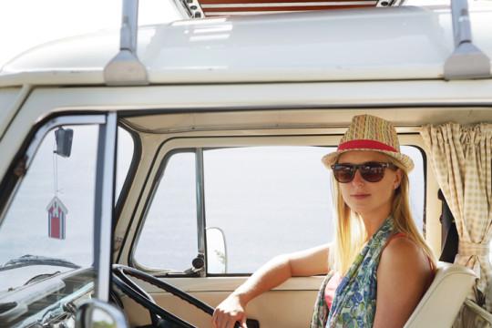 Woman sat in camper van
