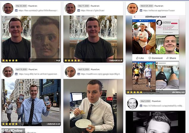 MATCH: When a Facebook profile picture was used and not a new selfie, the site found more pictures which are available online (pictured, the results). However, it is worth noting that two of the results included the exact same image as the profile photo (top left)