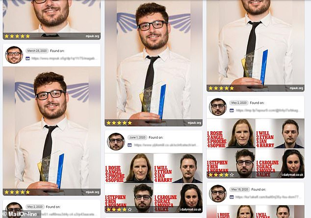 MATCH: Pictured, more results for Stephen Matthews (pictured). These matches are the correct person but they are all variations of two individual photos — smiling after receiving a journalism award and a front-on picture used in another MailOnline article. It did not find any surprising or hidden pictures
