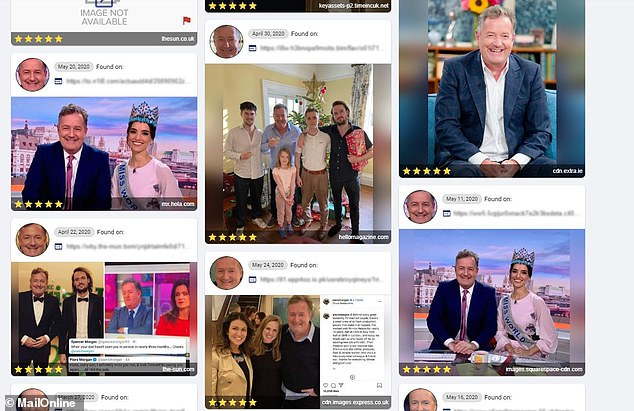 The photograph of Piers Morgan holding up a sausage roll yielded several different results of the journalist and TV personality from elsewhere on the internet (pictured)