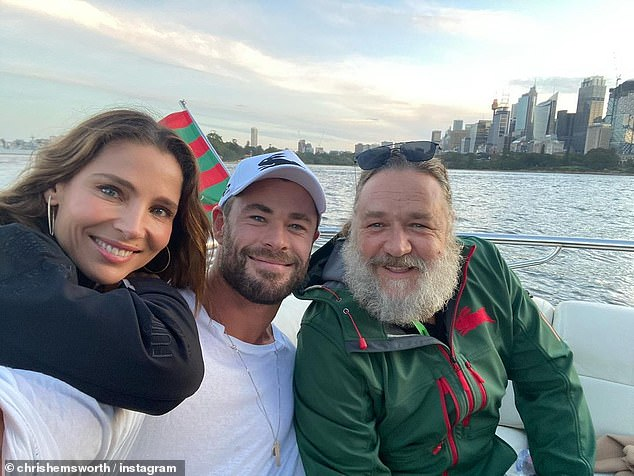 Project finished: Crowe just wrapped up filming as 'Zeus' for the upcoming Thor installment. Pictured with Thor actor Chris Hemsworth and his wife Elsa Pataky