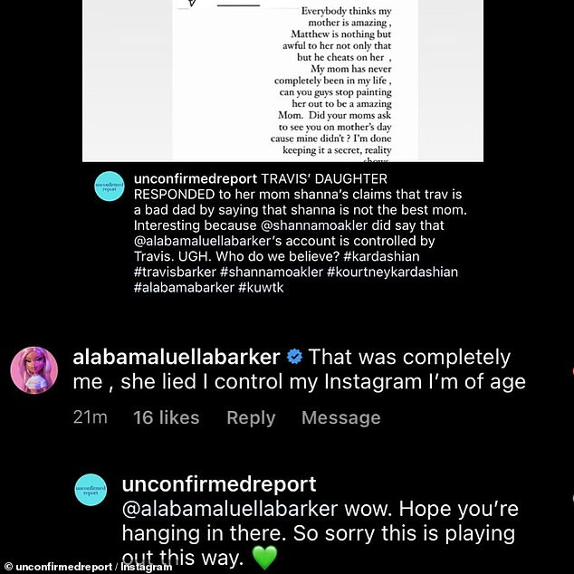 'I control my Instagram': Alabama said in response to Shanna's claims