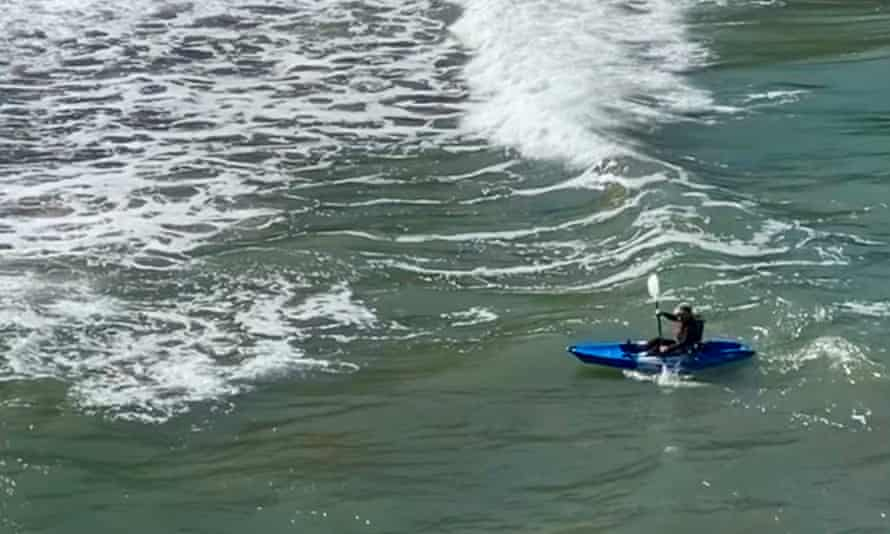 Kevin Rushby kayaking off the Ceredigion coast.
