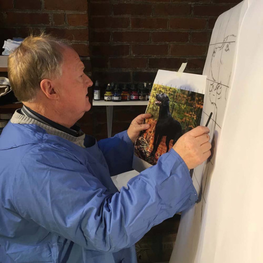 Clive at work on a painting (Collect/PA Real Life)