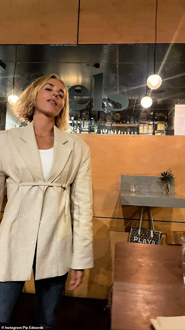 Out and about:Pip was feeling celebratory on Mother's Day.In photos shared to Instagram, she documented her night out at upmarket eatery Rocker, in North Bondi