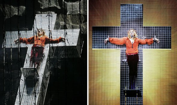 Madonna triggered controversy when she was mounted on a cross for her 2006 tour