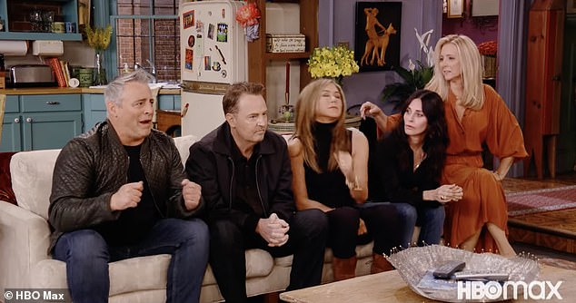 Memories: The opening scene was certainly familiar as Jennifer Aniston joined Courteney Cox and Matt LeBlanc on their old couch with David Schwimmer, Lisa Kudrow and Matthew Perry