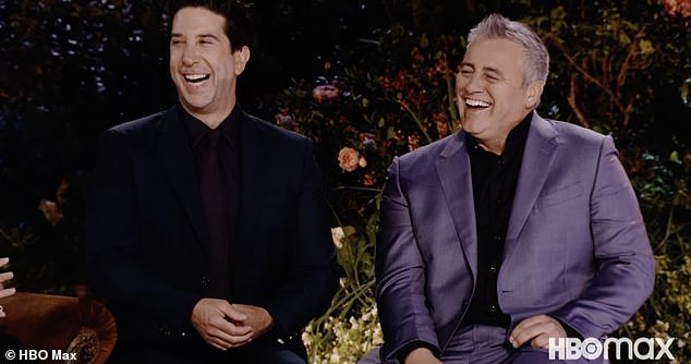 Make em laugh: Matt picked up his cup of coffee and muttered 'bulls***' under his breath while David laughed and pointed when asked if Ross and Rachel were actually on a break