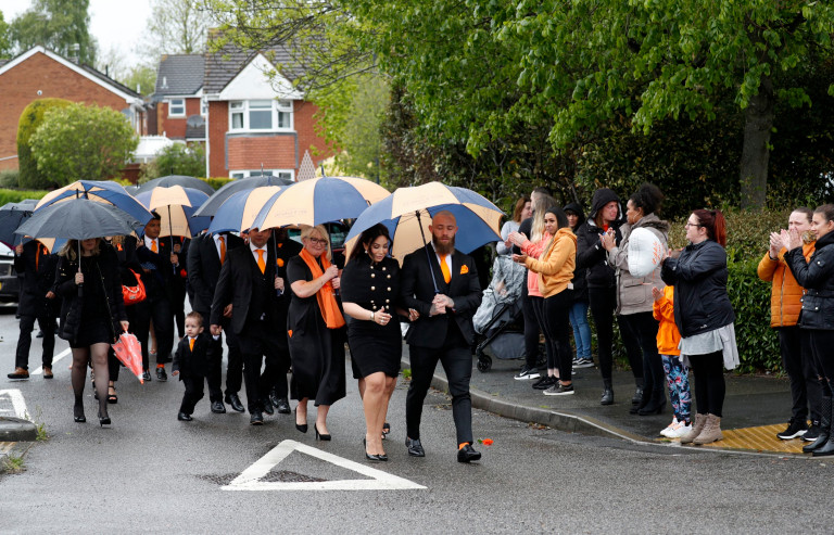 Ashley Cain and Safiyya Vorajee follow the funeral cortege of their daughter Azaylia.