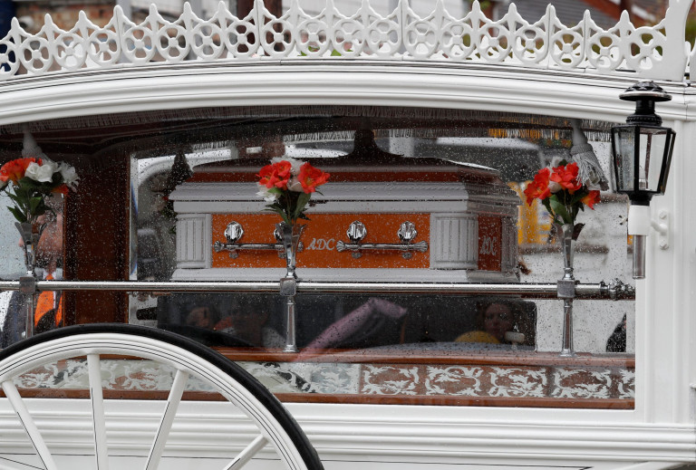 The coffin carrying Azaylia Cain.