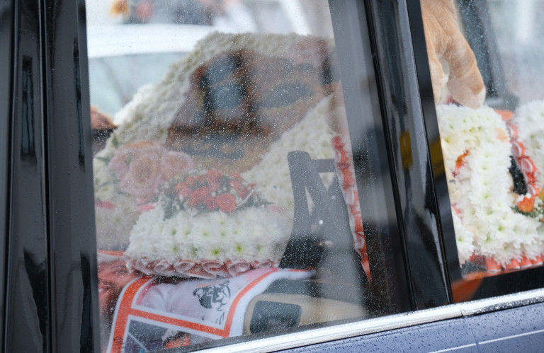 Mandatory Credit: Photo by Graham Stone/Shutterstock (11917271h) Ashley Cain's daughter, Azaylia's cortege driving through the streets of Nuneaton town to a private service of celebration of Azaylia's life. Ashley has asked people who would like to pay there respects by lining the streets along the route and to show there love by clapping and making joyous noise of celebration as the cortege goes by. Ashley Cain's daughter, Azaylia's funeral, Nuneaton, England, UK - 21 May 2021