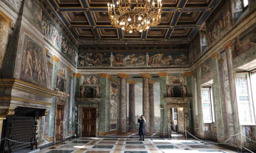 A visitor at the Villa Farnesina in Rome, earlier this year.