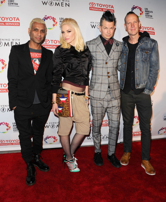 Adrian Young, Tom Dumont, Gwen Stefani and Tony Kanal - No Doubt - at An Evening With Women, Los Angeles, America - 16 May 2015 An Evening With Women Benefitting The Los Angeles LGBT Center