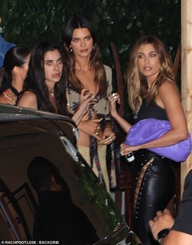 BFF:Meanwhile, Kendall's BFF Hailey Bieber rolled up to the event with the 818 tequila founder in a pair of pleather pants