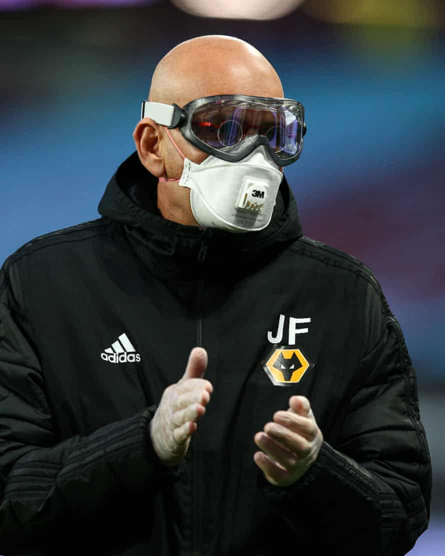 Julio Figueroa, first team coach of Wolverhampton Wanderers, wearing PPE before the match with West Ham.