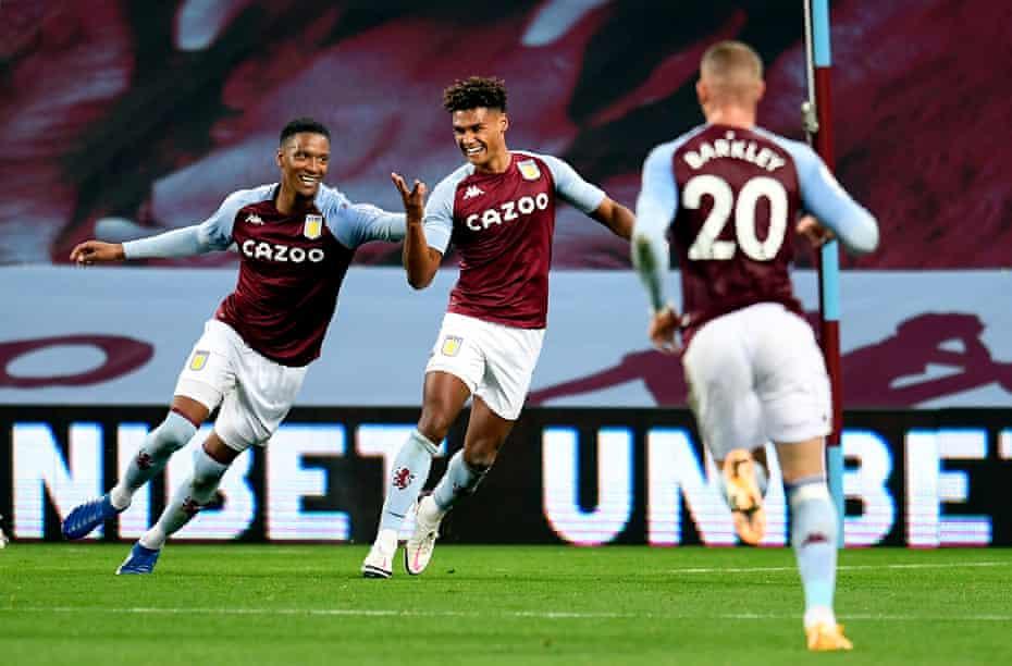 Aston Villa's Ollie Watkins celebrates completing his hat-trick against Liverpool at Villa Park.