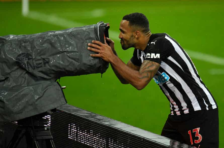 Newcastle United's Callum Wilson celebrates scoring his side's third goal of the game against Burnley at St James' Park.