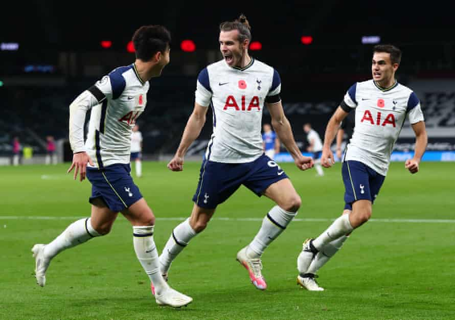 Loan signing Gareth Bale celebrates with his of Tottenham Hotspur team-mates after scoring against Brighton.
