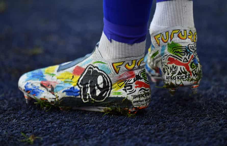 A detailed view of the boots of Leicester City's James Maddison before the match with Manchester United at The King Power Stadium.