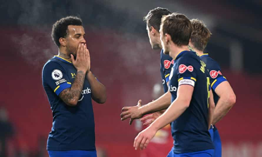 Steam comes off the head of Southampton's Ryan Bertrand during their harrowing 9-0 defeat at Manchester United.