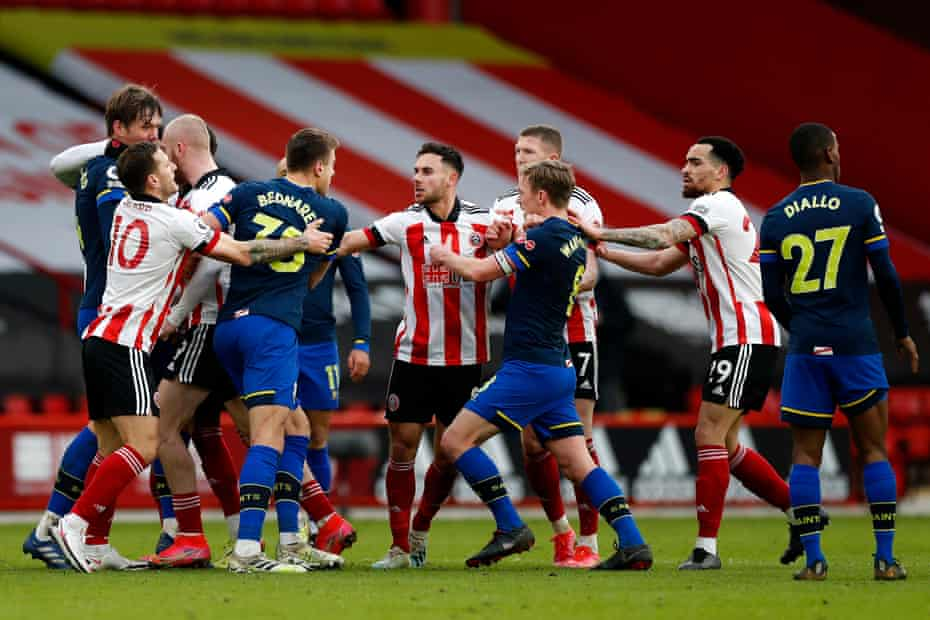 Sheffield United and Southampton players clash at the end of their fixture at Bramall Lane.