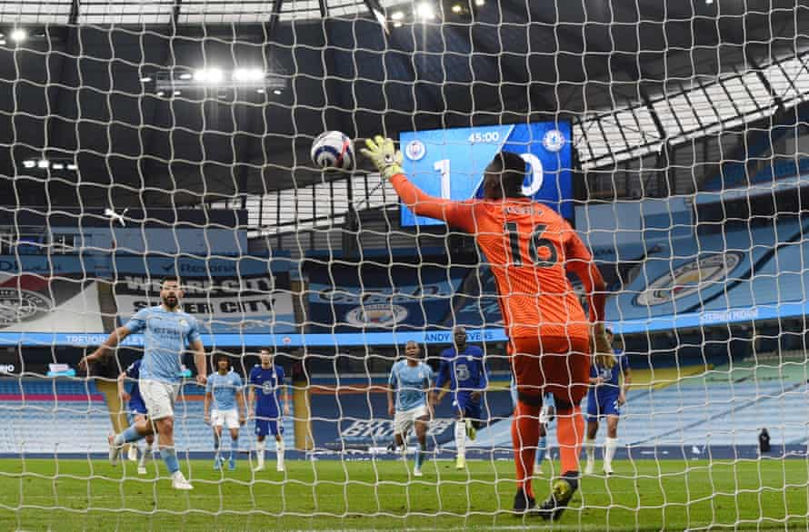 Edouard Mendy of Chelsea easily saves a penalty from Sergio Aguero of Manchester City, who tried to dink it down the middle.