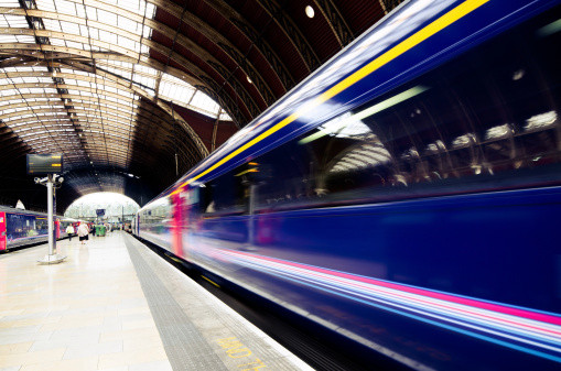 Train leaving Paddington Station in London, England