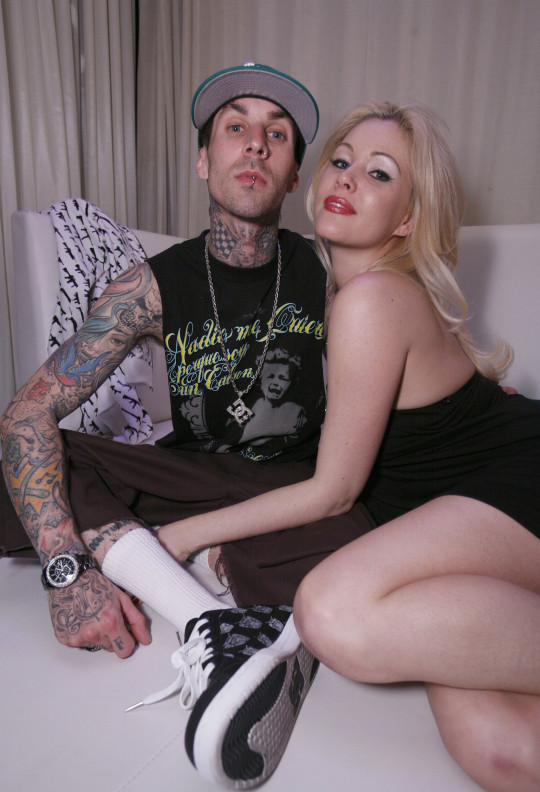 Travis Barker and Shanna Moakler during Travis Barker Hosts His Famous Stars and Straps Fashion Showcase at PURE Nightclub at Pure Nightclub in Las Vegas, Nevada, United States. ***Exclusive*** (Photo by Chris Weeks/WireImage)