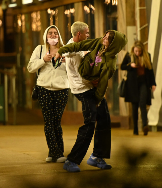 EXCLUSIVE: * Min Web Fee 300 GBP For Set * * Min Print Fee 500 GBP For Set * Romeo Beckham and Cruz Beckham are seen leaving Gordon Ramsay street kitchen Battersea after enjoying a double date with Mia Regan and Matilda Ramsay. Romeo Wears: Hoodie - Saint Laurent ??565 Pictured: Romeo Beckham,Mia Regan,Matilda Ramsay Ref: SPL5228593 240521 EXCLUSIVE Picture by: SplashNews.com * Min Web Fee 300 GBP For Set * * Min Print Fee 500 GBP For Set * Splash News and Pictures USA: +1 310-525-5808 London: +44 (0)20 8126 1009 Berlin: +49 175 3764 166 photodesk@splashnews.com World Rights