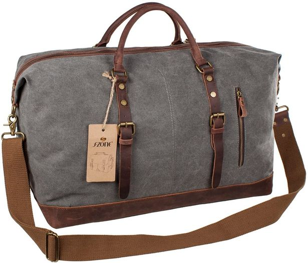 S-ZONE Mens Canvas Leather Holdall