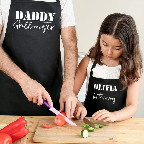 Matching grill master daddy and son or daughter aprons