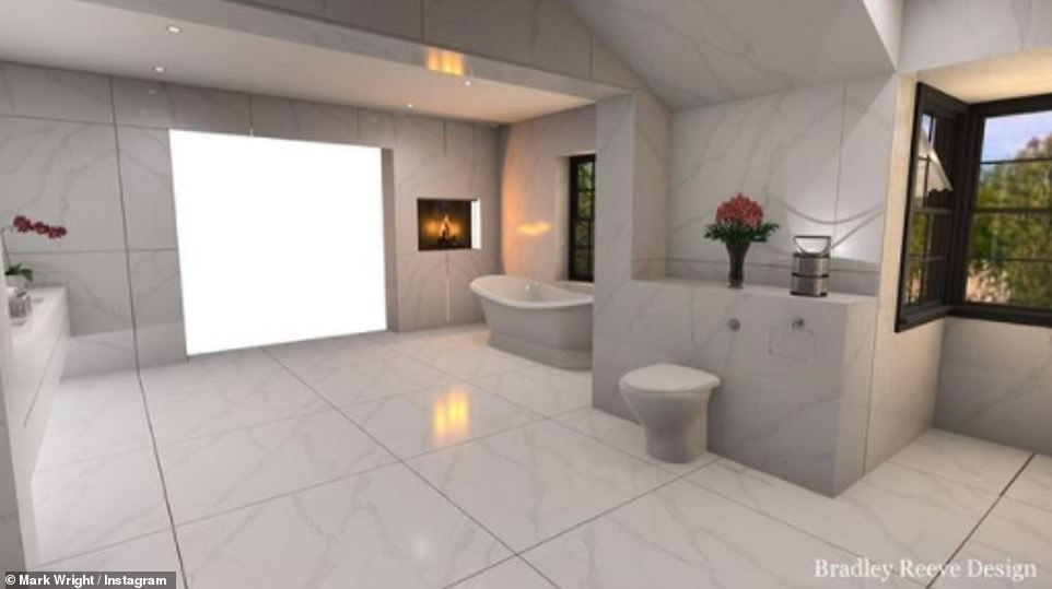 Luxurious: The previous day, Mark shared a digital rendering of the final bathroom design which featured marble floors and a vast countertop with twin sinks