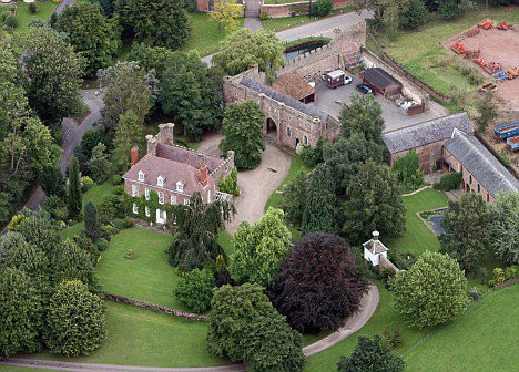 Arial view of Bollitree Castle near Ross on Wye, Herefordshire.
