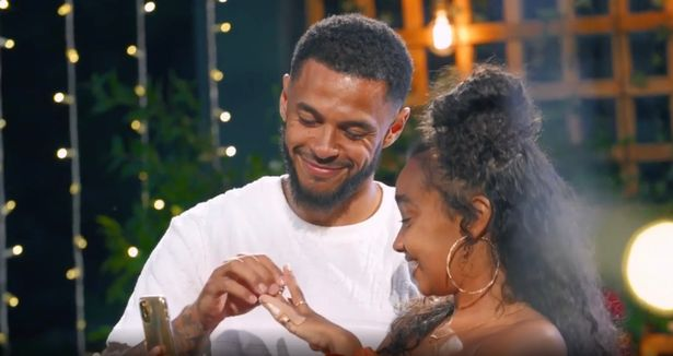 She said yes! Andre puts the engagement ring on Leigh-Anne's finger